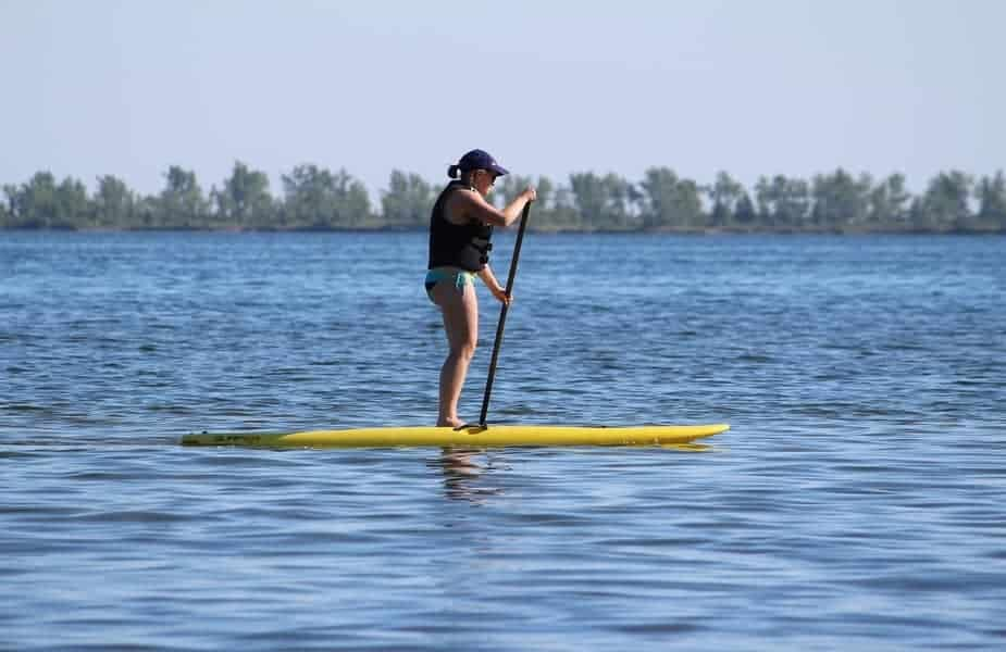 Woman on Yellow Paddleboard with Life Jacket